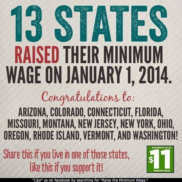 13 States RAISED Their Minimum Wage on January 1, 2014.