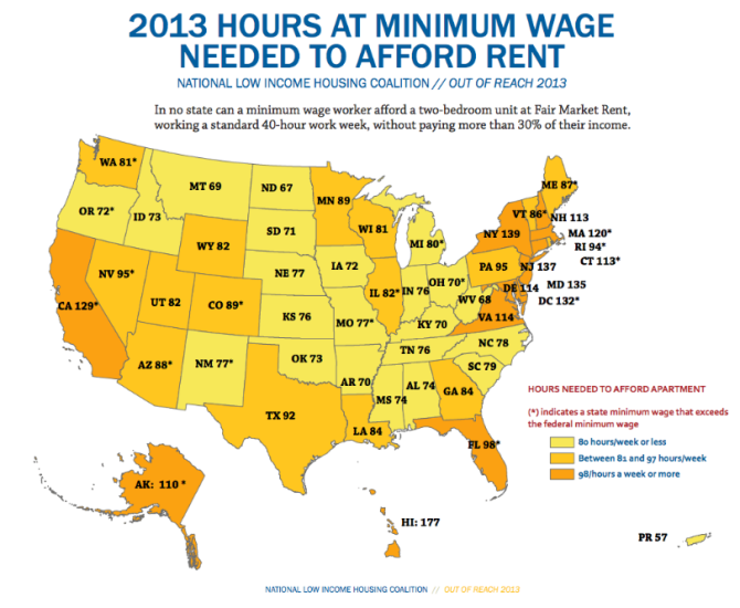 2013 Hours at Minimum Wage Needed to Afford Rent