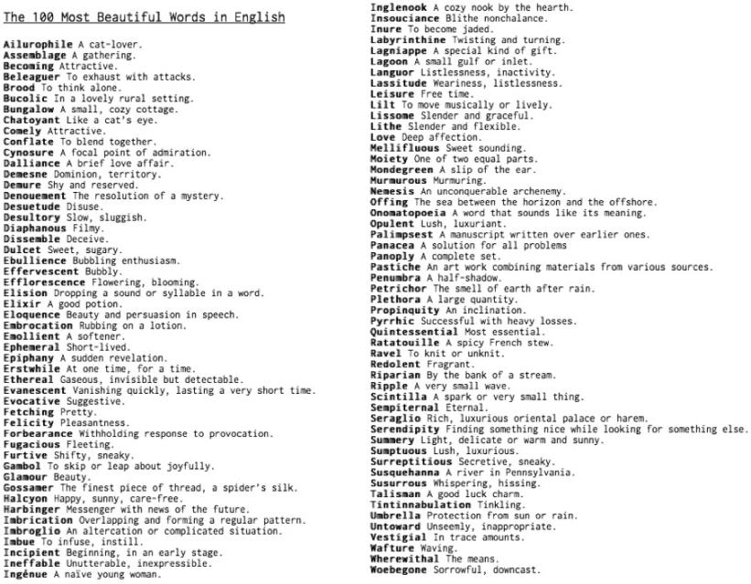 English Most Beautiful Words